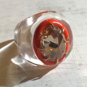 Alexis Bittar Art Deco Lucite Ring Sz 7 NWOT
